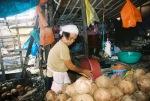 A Waray coconut vendor at Tacloban Public Market, 2010.